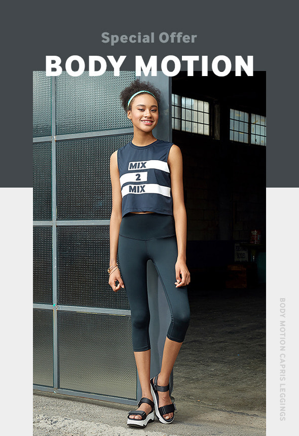 [70%단기세일] [MSBL01_04BK] BODY MOTION CAPRIS LEGGINGS