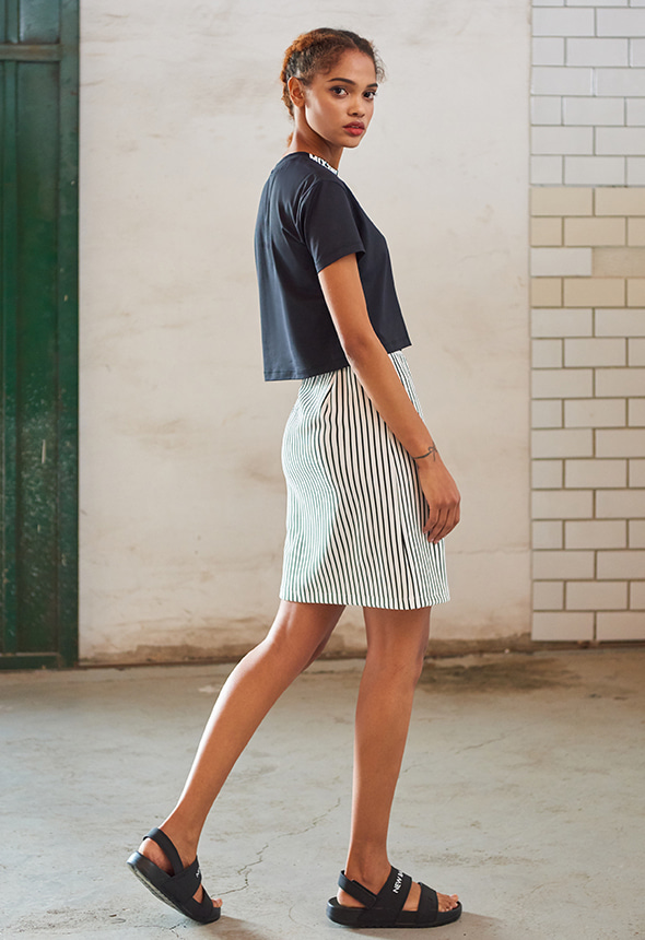 [80%단기세일] [MSBK01_02WH] STRIPE SKIRT